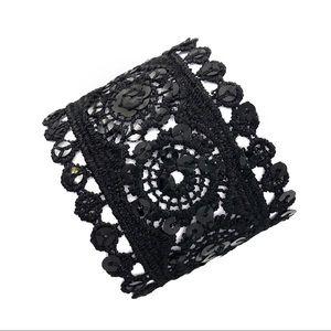 🌼3/$30🌼 Black Fabric Lace Wide Clasp Bracelet